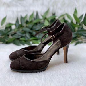 Ann Taylor Brown Suede Closed Toe Pump Heel 7